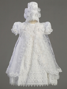 After the birth of my child I can re-use the lace from my gown to make a dedication outfit